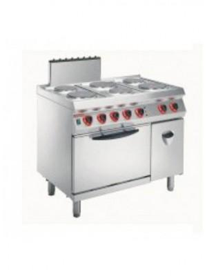 Κουζίνα ηλεκτρική με 6 εστίες και φούρνο στατικό και στο πλάι ερμάριο Angelo Po