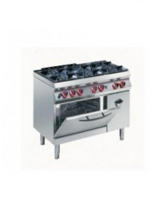 Κουζίνα Υγραερίου 6 εστιών με στατικό φούρνο 2/1 και ντουλάπι Angelo Po