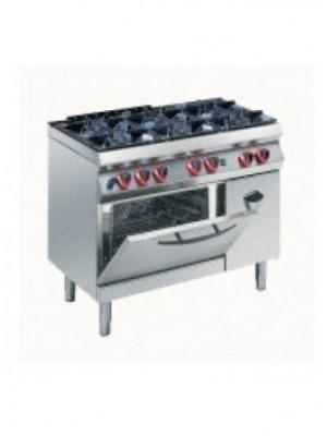 Κουζίνα Υγραερίου 6 εστιών με φούρνο αερίου CONVECTION 2/1 και ντουλάπι Angelo Po