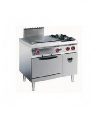 Κουζίνα υγραερίου ενιαίας επιφάνειας και 2 εστίες με στατικό φούρνο υγραερίου 2/1 και ντουλάπι Angelo Po