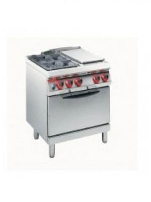 Κουζίνα Υγραερίου 2 εστιών και ενιαίας πλάκας με στατικό φούρνο 2/1 Angelo Po