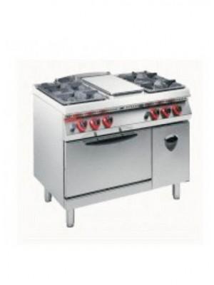 Κουζίνα Υγραερίου 2+2 εστιών και πλατώ με στατικό φούρνο 2/1 και ντουλάπι Angelo Po