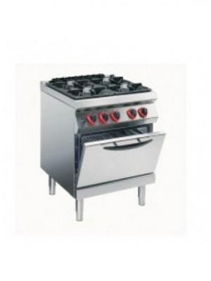 Κουζίνα Υγραερίου 4 εστιών με στατικό φούρνο ηλεκτρικό 2/1 GN Angelo Po